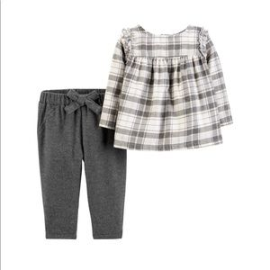 Baby Girls Carter's Plaid Lurex Top & Pants Set